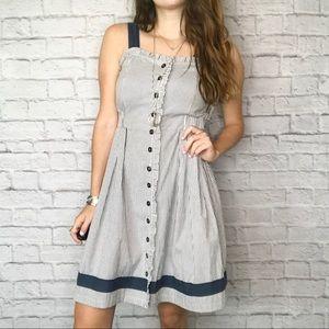 Anthro THML ruffle button apron striped dress
